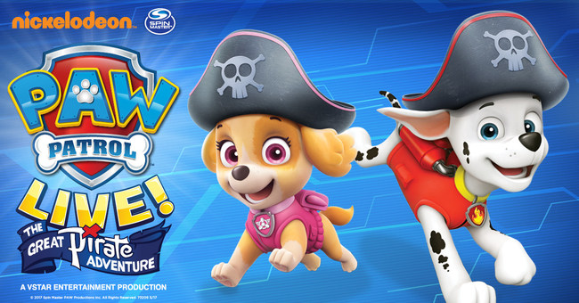 """All paws on deck! PAW Patrol Live! """"The Great Pirate Adventure,"""" a new production from Nickelodeon and VStar Entertainment Group, sets sail on its North American tour beginning October 2017."""