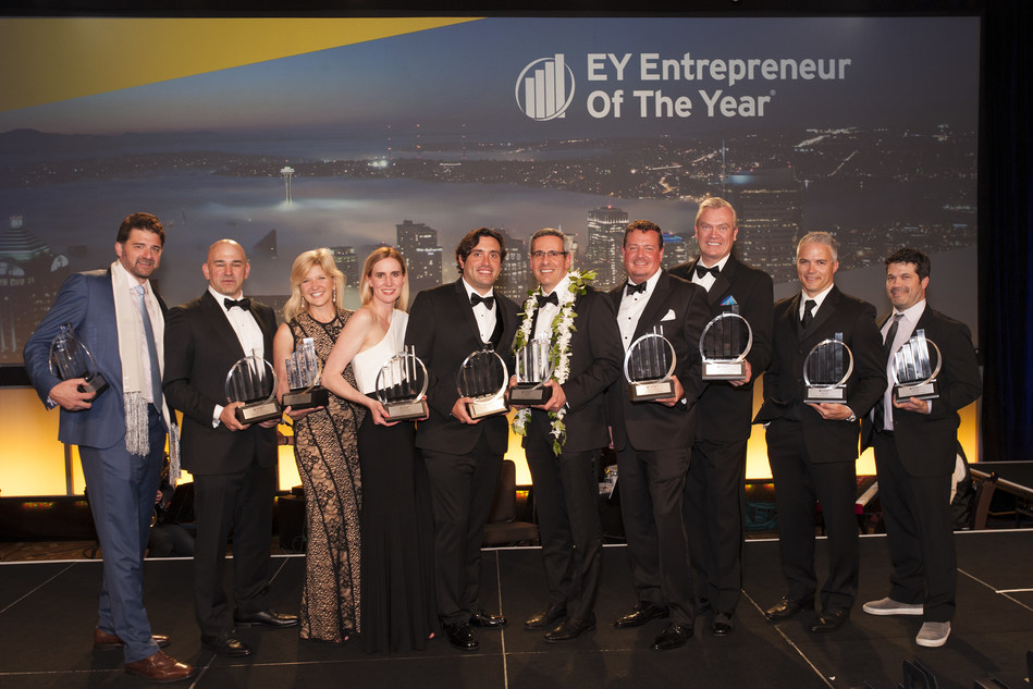 The Entrepreneur Of The Year 2017 Pacific Northwest award recipients.