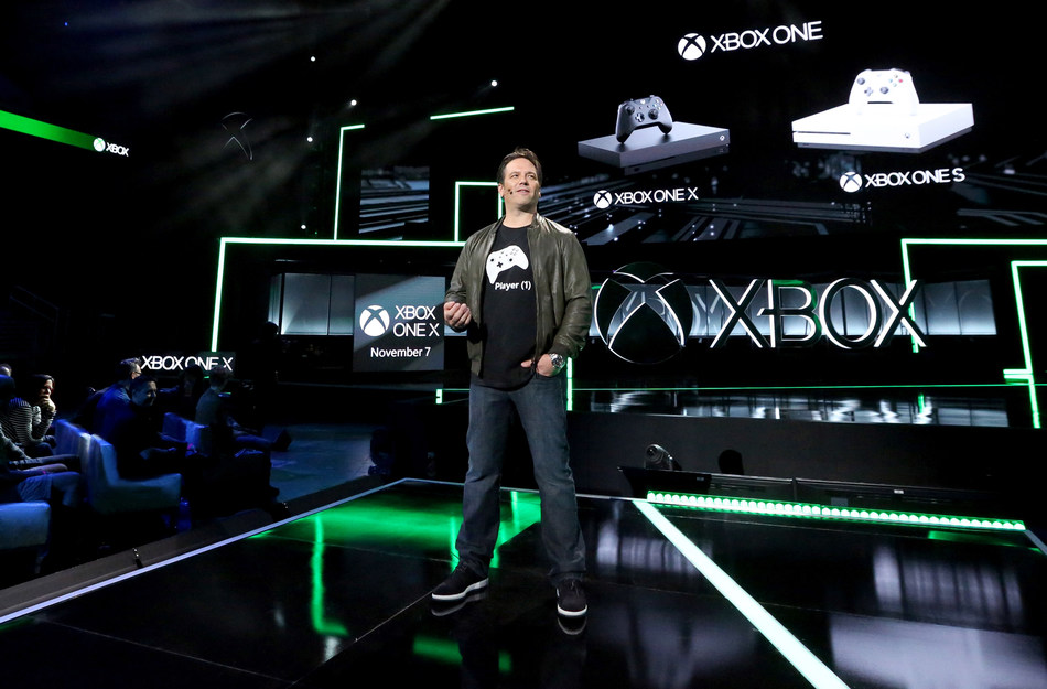 Phil Spencer, head of Xbox, discusses the Xbox One family of devices, including Xbox One X, at the Xbox E3 2017 Briefing on Sunday, June 11, 2017, in Los Angeles. (Photo by Casey Rodgers/Invision for Xbox/AP Images)