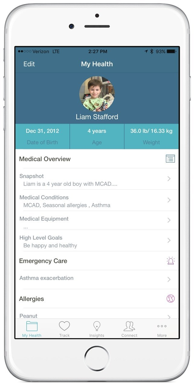 The My Health feature of the new Caremap app enables patients to capture details about their health conditions.