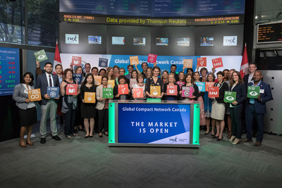 Helle Bank Jorgensen, President, B. Accountability and the Global Compact Network Canada (GCNC), joined Tanya Rowntree, VP, Sales, TSX Trust Company, to open the market. The Global Compact Network Canada (GCNC), is the Canadian Network of the United Nations Global Compact – a global voluntary corporate sustainability initiative. The GCNC, in collaboration with the Global Reporting Initiative (GRI), Statistics Canada, TELUS, and eRevalue, is offering full-day training on June 12, 2017 in Toronto, to provide professionals with an opportunity to learn from industry leaders and experts on how to report on the 17 Sustainable Development Goals (SDGs). (CNW Group/TMX Group Limited)