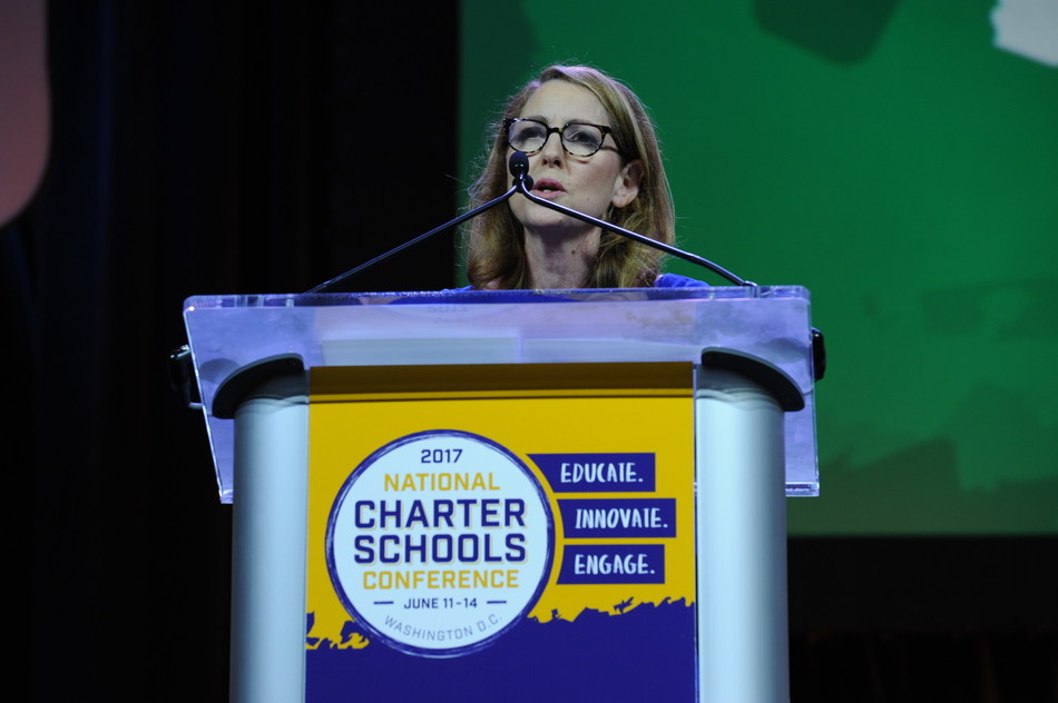 Success Academy founder and CEO Eva Moskowitz accepts the 2017 Broad Prize for Public Charter Schools at the National Charter Schools Conference in Washington, D.C.