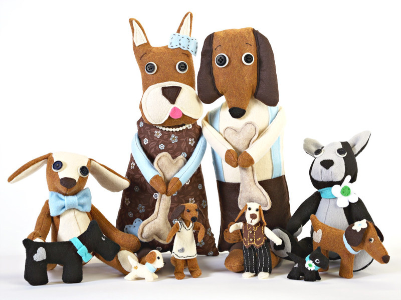 Fun and eco friendly plush doggies all designed and hand sewn by artist Jennifer D Burrell.