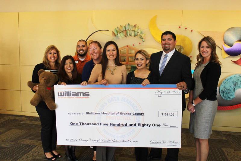Pictured: Justin Parker, Business Development Executive at Williams Data Management with Orange County's Credit Union Charitable Giving team and Allie Reynolds, Senior Associate Director, Cause Marketing & CMNH at CHOC