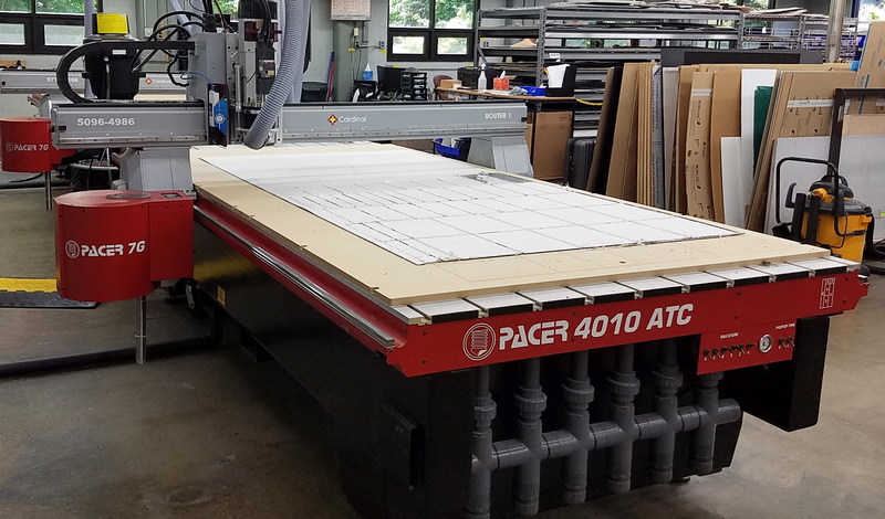 The AXYZ Pacer 4010 CNC router with automatic tool changer and heavy-duty steel base provides Cardinal Manufacturing a rigid structure for vibration-free machining
