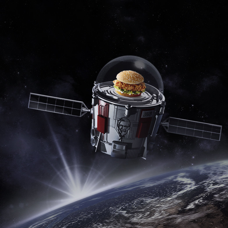 KFC Zinger Chicken Sandwich in Space