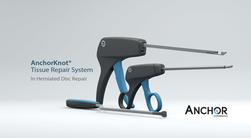 The AnchorKnot® Tissue Approximation Kit is used in surgical spinal procedures such as herniated disc repair. Patient suitability is determined by the surgeon during the  operation. (CNW Group/Anchor Orthopedics)