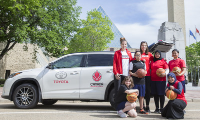 Women's National Team athletes Michelle and Katherine Plouffe meet with Canada's next generation of basketball talent to kick off Toyota Canada's new partnership as the Official Mobility Sponsor and Official Vehicle of Canada Basketball. (CNW Group/Toyota Canada Inc.)