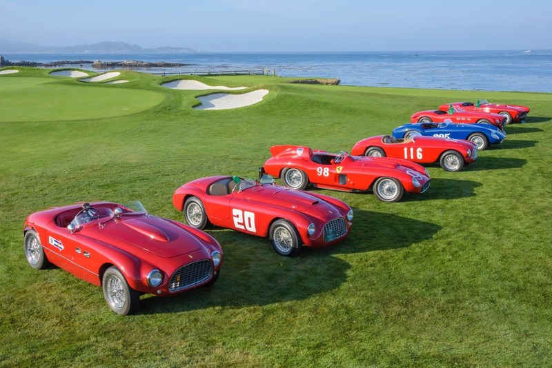 In 2015, Ferraris that had raced at Pebble Beach in the 1950s returned to retrace the old road race course and compete on the Concours competition field (credit: Kimball Stock/Pebble Beach Concours)