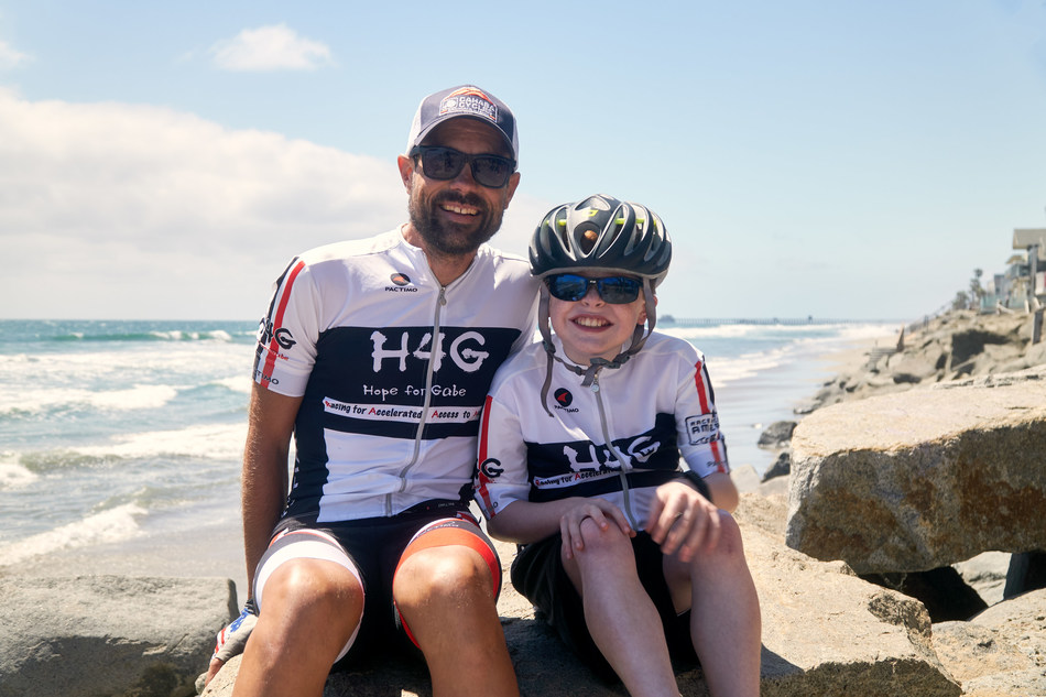 Brian Toone and Gabe Griffin enjoy downtime in Oceanside, CA prior to Race Across America. Toone will race his bicycle 3,071 miles to Annapolis, MD raising awareness about Gabe's terminal condition. Photo Credit: Garrett Coyte