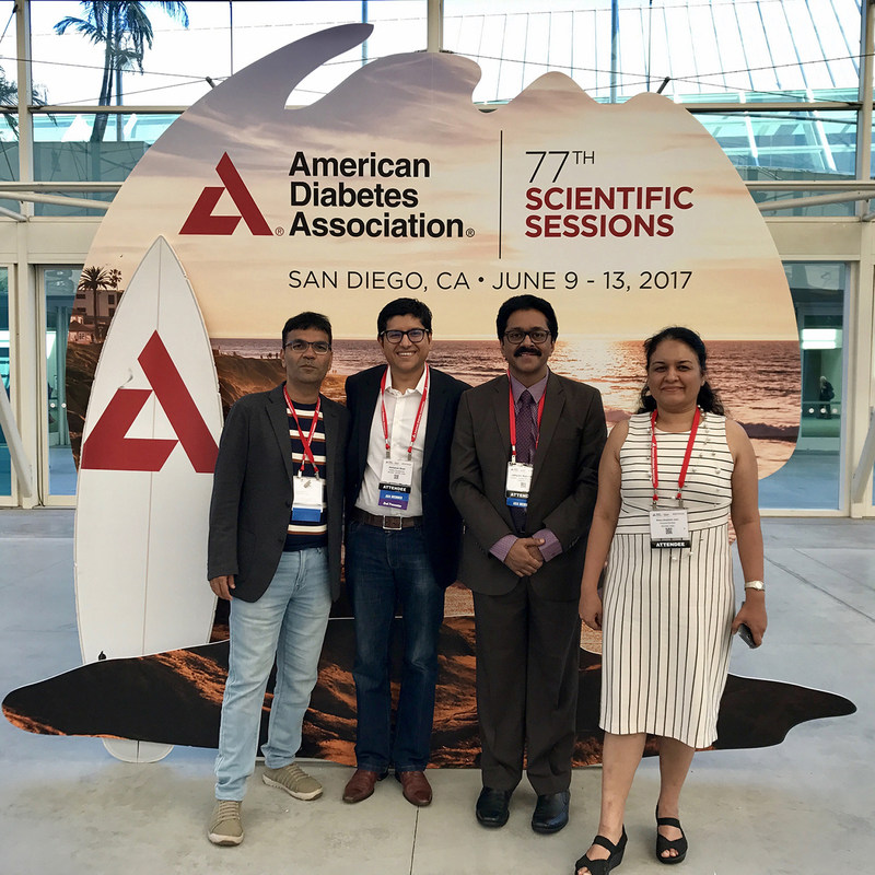 From Left to Right: Dr. Banshi Saboo, Mr. Abhishek Shah, Dr. Jothydev Kesavadev and Mrs. Shilpa Joshi, at the American Diabetes Association 77th Scientific Session (PRNewsfoto/Wellthy Therapeutics Pvt Ltd)