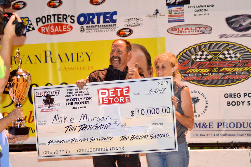 """""""Mike Morgan celebrates his first Minimizer Bandit Big Rig Series win of the year at Greenville-Pickens Speedway June 10, 2017."""""""