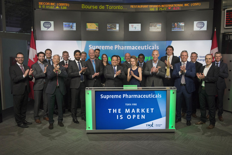 John Fowler, President & CEO, Supreme Pharmaceuticals Inc. (FIRE), joined Brady Fletcher, Managing Director, TSX Venture Exchange, to open the market. Supreme Pharmaceuticals is a cultivator and distributor of sun grown cannabis through its wholly-owned subsidiary 7ACRES. 7ACRES is a federally licensed producer of medical cannabis pursuant to the Access to Cannabis for Medical Purposes Regulations operating inside a 342,000 sq. ft. Hybrid Greenhouse facility. Supreme Pharmaceuticals Inc. commenced trading on TSX Venture Exchange on June 6, 2017. (CNW Group/TMX Group Limited)