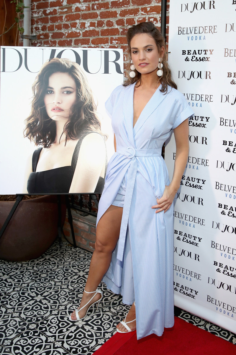 Actor Lily James attends DuJour Media's Summer Issue Cover Party with Lily James presented by Belvedere Vodka at Beauty & Essex Los Angeles on June 12, 2017 in Los Angeles, California. (Photo by Jonathan Leibson/Getty Images for DuJour)