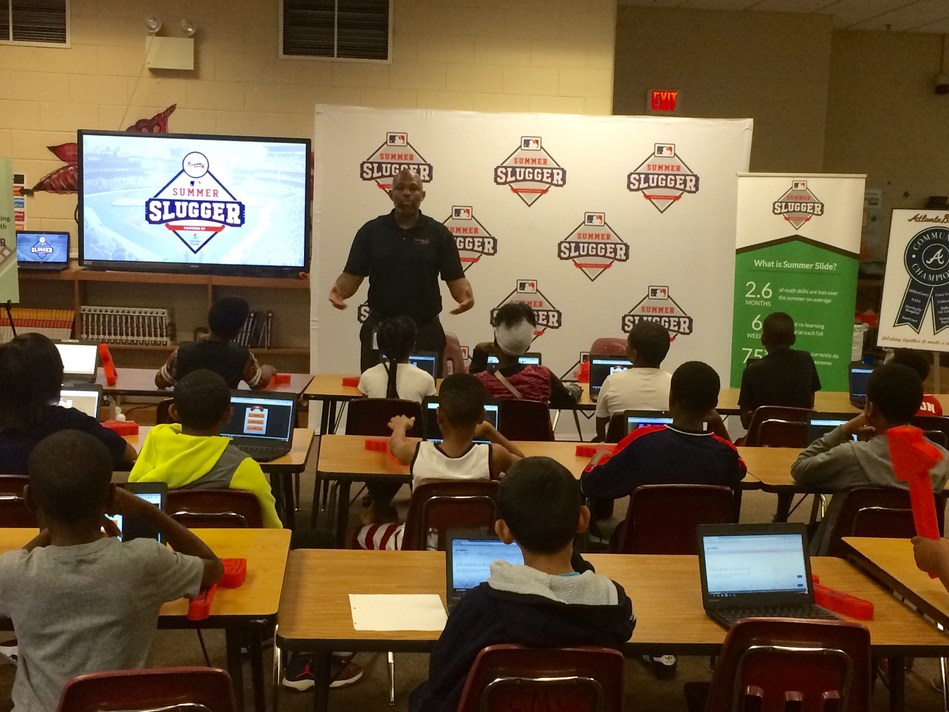 Georgia Power education coordinator, Cedric Sheffield, kicked-off the Braves Summer Slugger Program launch with an engaging Learning Power energy efficiency presentation to fourth and fifth grade students.
