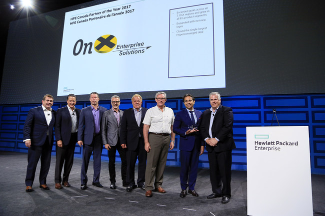 OnX Canada accepts 2017 HPE Partner of the Year Award. From left to right: Charlie Atkinson, Managing Director HPE Canada and VP & General Manager Enterprise Group; Jim Merritt, SVP HPE Enterprise Group, North America; Sean Hall, VP Sales, OnX Atlantic Region; Marty Blake, SVP Sales, OnX Central Region; Wayne Buskas, VP Sales, OnX Western Region; Blair Nichols, VP Sales, OnX Eastern Region; Paul Khawaja, President, Onx Canada; Scott Dunsire, VP & General Manager, HPE NA Channels & SMB Sales.