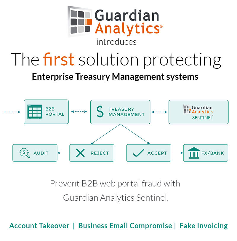 Guardian Analytics' Sentinel is the first solution to protect Enterprise Treasury Management Systems.