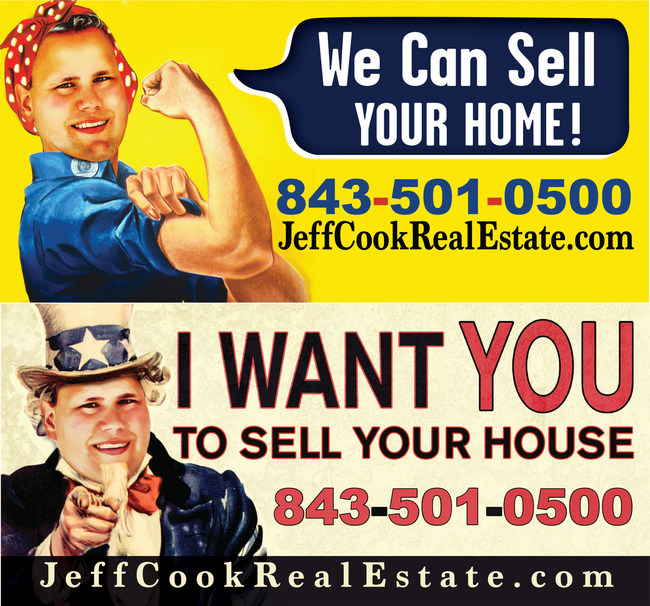 """Pictured: Jeff Cook of Jeff Cook Real Estate dressed up as """"Rosie the Riveter"""" and """"Uncle Sam"""" for his latest billboard campaign."""