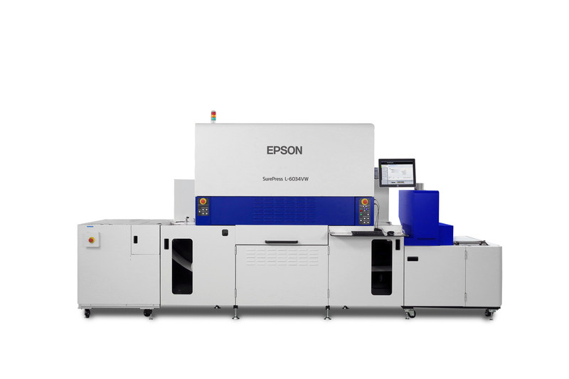 Epson SurePress L-6034VW industrial digital label press with UV curing ink