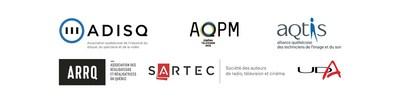 Logo: ADISQ : L'association québécoise de l'industrie du disque, du spectacle et de la vidéo; AQPM : L'association québécoise de la production médiatique; AQTIS : L'alliance québécoise des techniciens de l'image et du son; ARRQ : L'association des réalisateurs et réalisatrices du Québec; SARTEC : La société des auteurs de radio, télévision et cinéma; UDA : L'union des artistes (Groupe CNW/Alliance québécoise des techniciens de l'image et du son (AQTIS))