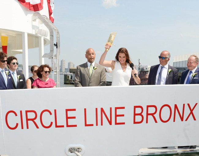 Special guest Brooke Shields christened Circle Line Sightseeing Cruises' new vessels at a June 13th ceremony, which featured Bronx Borough President Ruben Diaz Jr. and Staten Island Borough President James Oddo