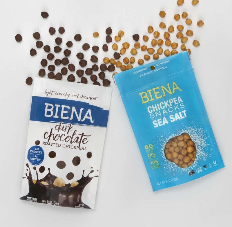 Chocolate lovers everywhere can get their fix and feel good about it with Biena's new line of chocolate-covered chickpeas, which hit shelves later this summer. Biena has submerged its signature Sea Salt chickpeas into delectable chocolate and caramel. The three flavors–dark chocolate, milk chocolate, and salted caramel–are an indulgent, yet healthy snack with 4 grams of protein and only 130 calories per serving.