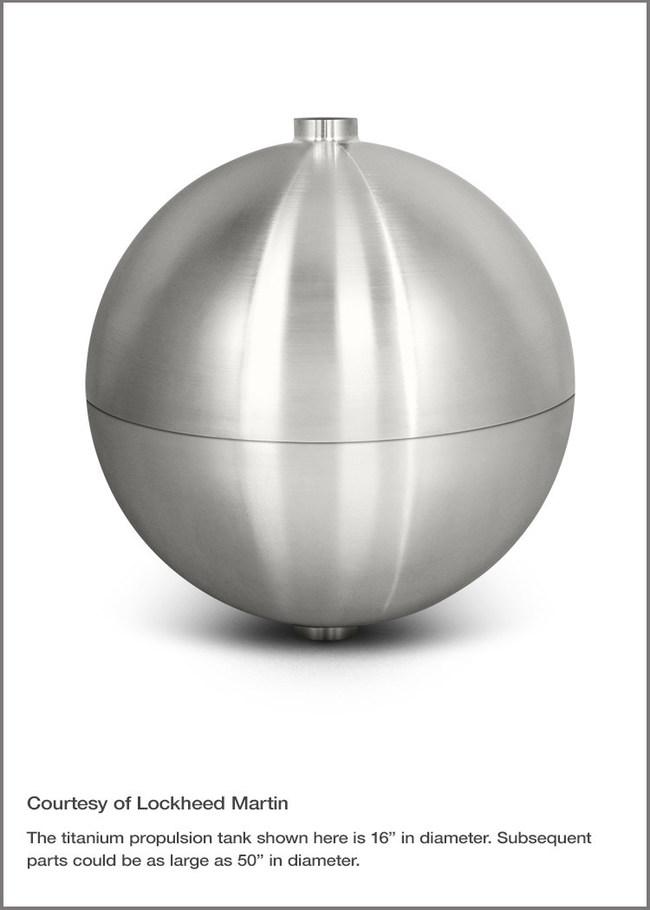 A titanium propellant tank 3D printed with Sciaky's EBAM technology for Lockheed Martin Space Systems. Photo courtesy of Lockheed Martin.