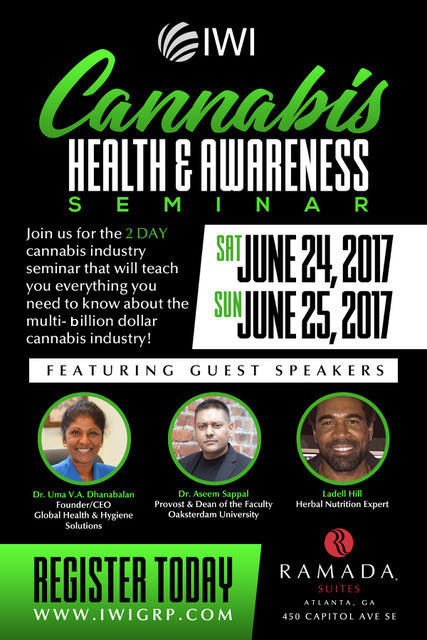 Integrated Worldwide Innovations (IWI) will hold the first Cannabis Health and Awareness Seminar in Atlanta, GA on June 24th-25th at the Ramada Suites located at 450 Capitol Ave.