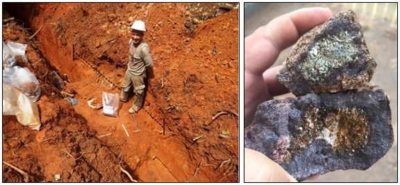 Figure 3: Quartz-pyrite lode structure encountered in trenching adjacent to a hand-dug pit at the Cascavel Target. Channel sampling of the highlighted interval returned 3.8m @ 3.88g/t Au. (CNW Group/Meridian Mining S.E.)