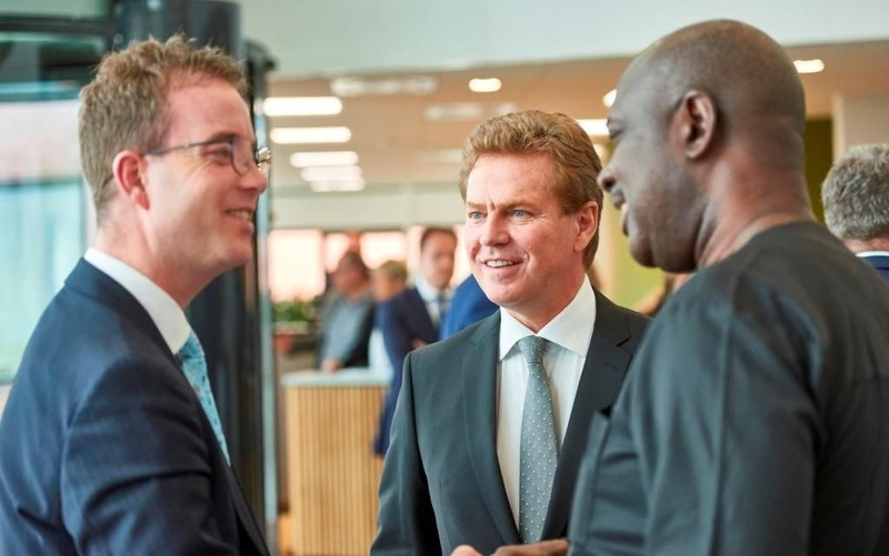 L-R: Minister of Environment and Food for Denmark, Mr. Esben Lunde Larsen; Chief Executive Officer, Arla, Mr. Peder Tuborgh and Nigeria's Minister of State for Agriculture, Hon. Heineken Lokpobiri at the official opening of the Arla Global Innovation Centre in Aarhus, Denmark recently (PRNewsfoto/Arla Foods)