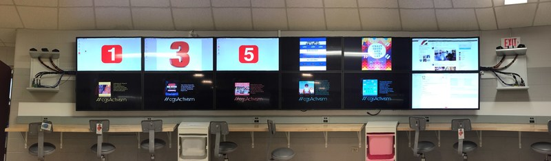 Calgary Girls' School uses ViewSonic ViewBoards as a collaborative video wall for a variety of interactive and experiential applications, including videoconferencing, 3D modeling projects, interactive discussion and conversation. (CNW Group/ViewSonic)