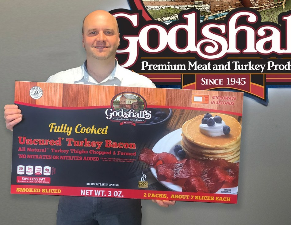 Ron Godshall, COO of Godshall's Quality Meats introducing the new All Natural Fully Cooked Turkey Bacon recipe. Available to grocers nationwide for the same price.