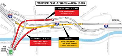 Projet Turcot et travaux de maintien de l'échangeur Saint-Pierre - Entraves sur le réseau autoroutier durant la fin de semaine du 16 juin 2017 (Groupe CNW/Ministère des Transports, de la Mobilité durable et de l'Électrification des transports)