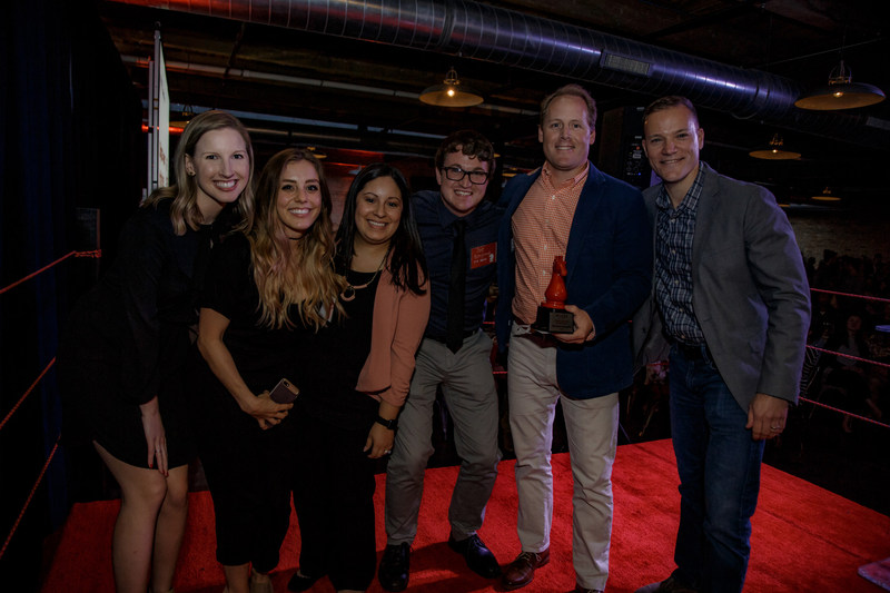 One Northerners – Sarah Mueller, Olivia Koivisto, Tanya Lord, Joseph Berglind, John Simpson and Jeff Hirner – celebrate after the B2B digital agency was announced as digital agency of the year at Built In Chicago's 2017 Moxie Awards.