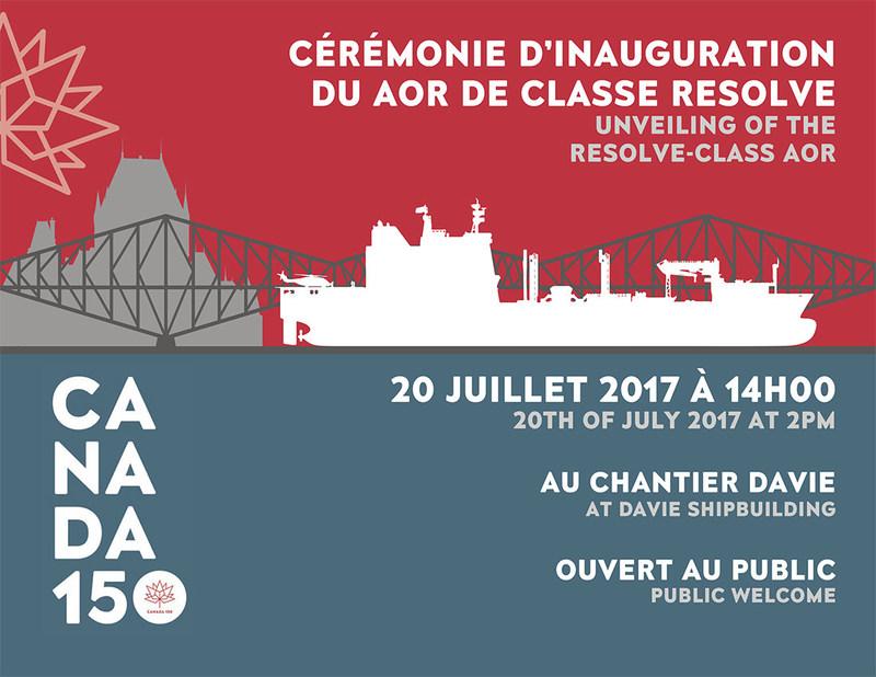 Davie ouvre ses portes pour célébrer les 150 ans du Canada - Inauguration du navire de soutien militaire de la classe Resolve le 20 juillet (Groupe CNW/Chantier Davie Canada Inc.)