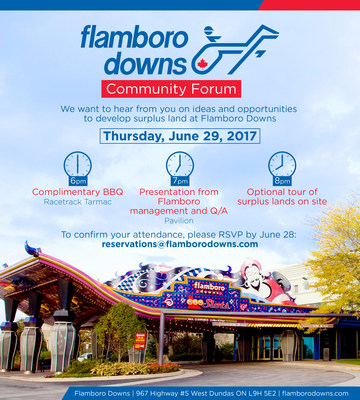 On Thursday, June 29, 2017 Flamboro Downs will host a community forum that will include a complimentary BBQ, presentation from Flamboro management, a Q&A session and a tour of the surplus land. (CNW Group/Great Canadian Gaming Corporation - Media Relations)