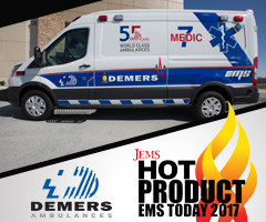 Demers Ambulance, a North American leader in ambulance manufacturing, has announced the selection of its 2016 Ford Transit Type II Ambulance as a Hot Product from the Journal of Emergency Medical Services (JEMS) EMS Today Conference & Exposition, which was held February 23-25 in Salt Lake City. (CNW Group/Demers-Ambulances inc.)