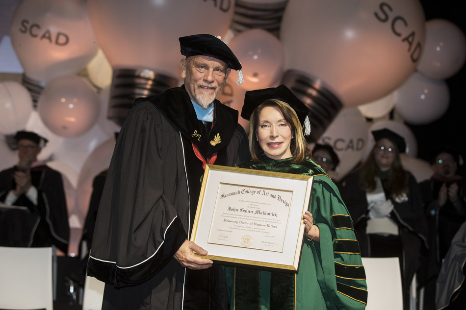 The Savannah College of Art and Design's largest graduating class ever was addressed by John Malkovich on Saturday, June 3, at the university's Savannah and Atlanta, Georgia, campuses.
