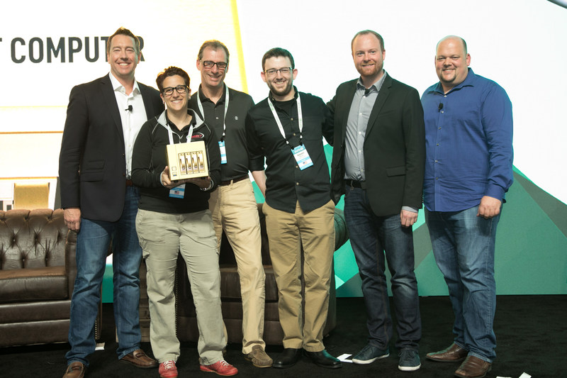 CONNECT Computer receives the Golden Datto Award for Largest Datto Fleet at Dattocon 2017. From left to right: Bryan Hauptman,SVP Datto. Lynn M. Souza, President & CEO CONNECT Computer. Bob Thomas, Sr Solutions Architect CONNECT Computer. Ben Karsif, Sr Datto Engineer CONNECT Computer. Austin McChord, CEO Datto. Rob Rae, VP Datto.