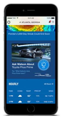 The Weather Company, an IBM Business, announced today the launch of the first cognitive ads for the auto industry. Toyota and The Weather Company have teamed up on a new Watson Ads experience to introduce the Prius Prime. Watson Ads for the Prius Prime are available in The Weather Channel App and weather.com.