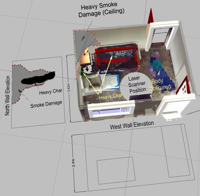 Create detailed fire scene diagrams from your 3D data, including wall elevation and charring patterns