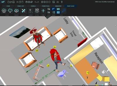Création de diagrammes 3D précis de l'intérieur et de l'extérieur de la scène de crime avec preuves, corps positionnés et éclaboussures de sang