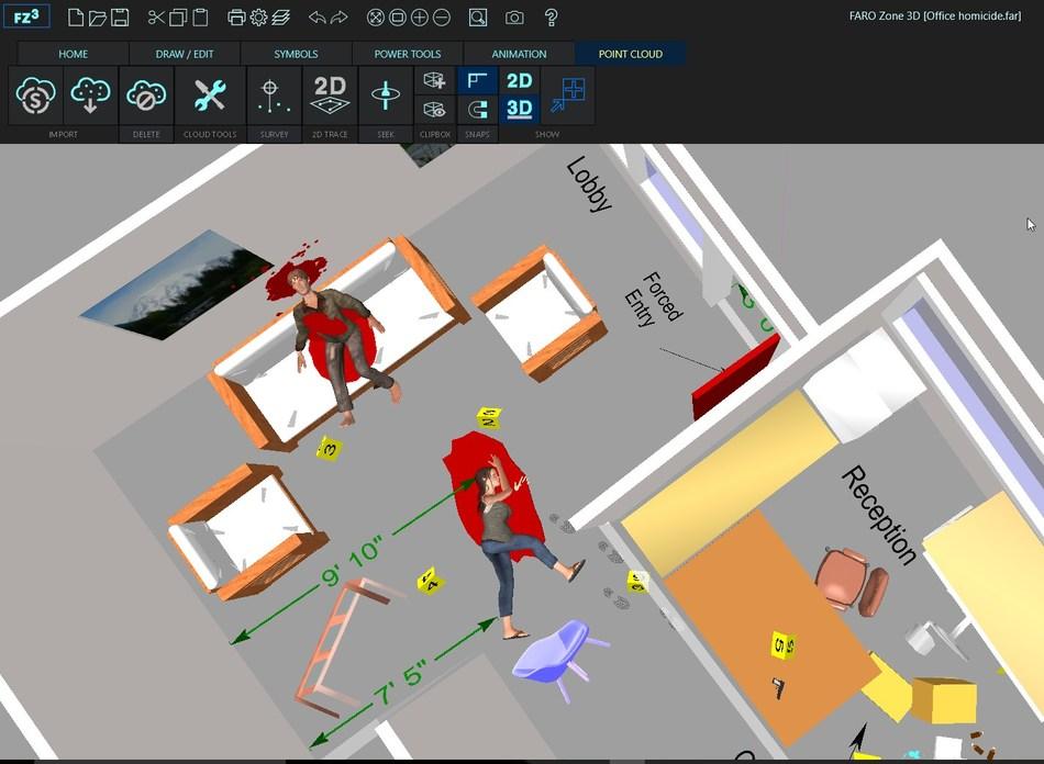Crie diagramas 3D precisos de cenas de crime interiores e exteriores completas com evidências, órgãos colocados e salpicos de sangue
