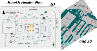 Création de plans 2D et 3D de l'école avant l'incident