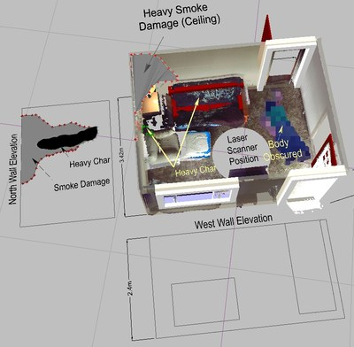 Création de diagrammes détaillés de scènes d'incendie à partir de données 3D vous appartenant, comme l'élévation du mur et les caractéristiques de carbonisation