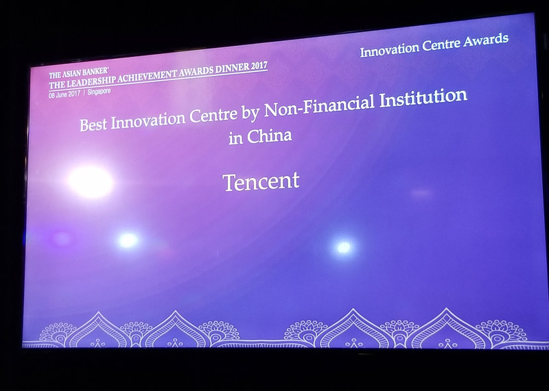 "Tencent wins the ""Best Innovation Centre by Non-Financial Institution in China"" award"