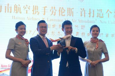 Xu Fei, directeur de marque d'Hainan Airlines, et Lawrence Xu annoncent lacollaboration (PRNewsfoto/Hainan Airlines Co., LTD)