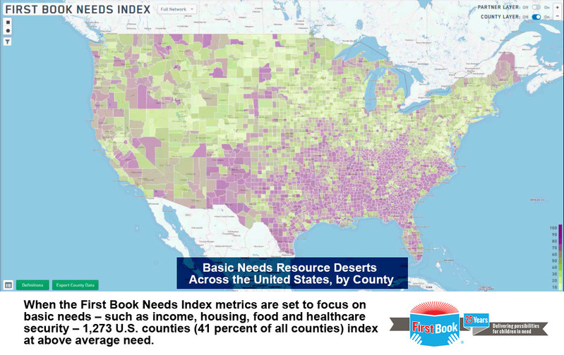 When the First Book Needs Index metrics are set to focus on basic needs – such as income, housing, food and healthcare security – 41 percent (1,273) of all U.S. counties index as having above average need.
