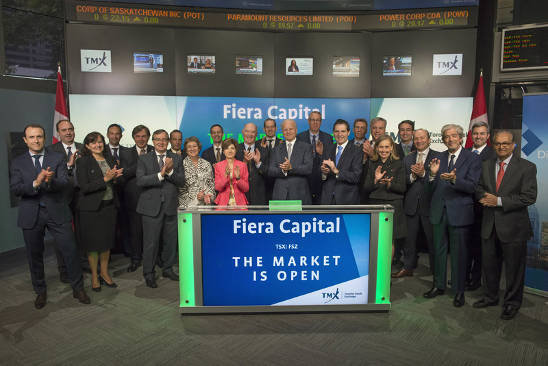 Jean-Guy Desjardins, Chairman of the Board, President and Chief Executive Officer, Fiera Capital Corporation (FSZ), joined Shaun McIver, Chief Client Officer, Equity Capital Markets, TMX Group to open the market. Fiera Capital is an independent asset management firm with more than $122 billion in assets under management. The Firm provides institutional, retail and private wealth clients with access to full-service integrated money management solutions across traditional and alternative asset classes. Fiera Capital Corporation commenced trading on Toronto Stock Exchange on August 11, 1986. (CNW Group/TMX Group Limited)
