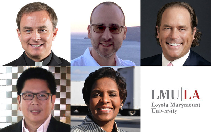 New members of the Loyola Marymount University Board of Trustees: D. Scott Hendrickson, S.J., Michael Mandelbaum, Steve Mosko, Handojo Selamet Muljadi, and Rosemary Turner.